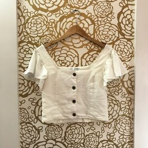 Zara White Button Front Square Neckline Blouse